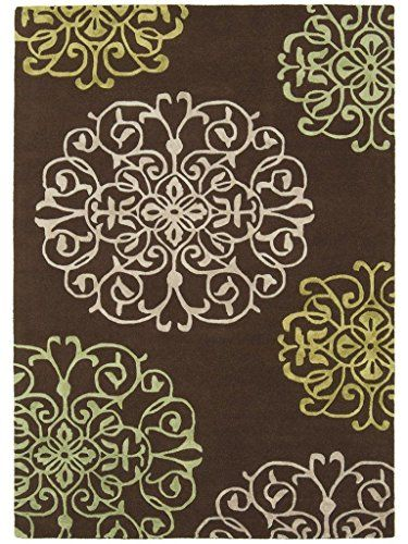 Teppich Wohnzimmer Carpet Modern Design MATRIX TANGIER BLUMEN RUG 100 Wolle 160x230 Cm Rechteckig Braun