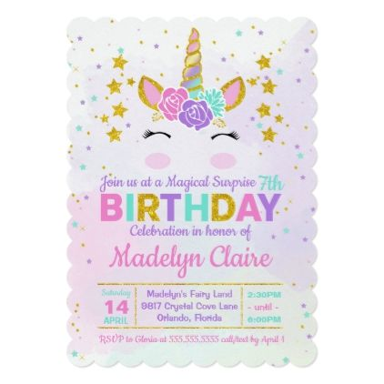 Magical Unicorn Surprise Birthday Party Invitation