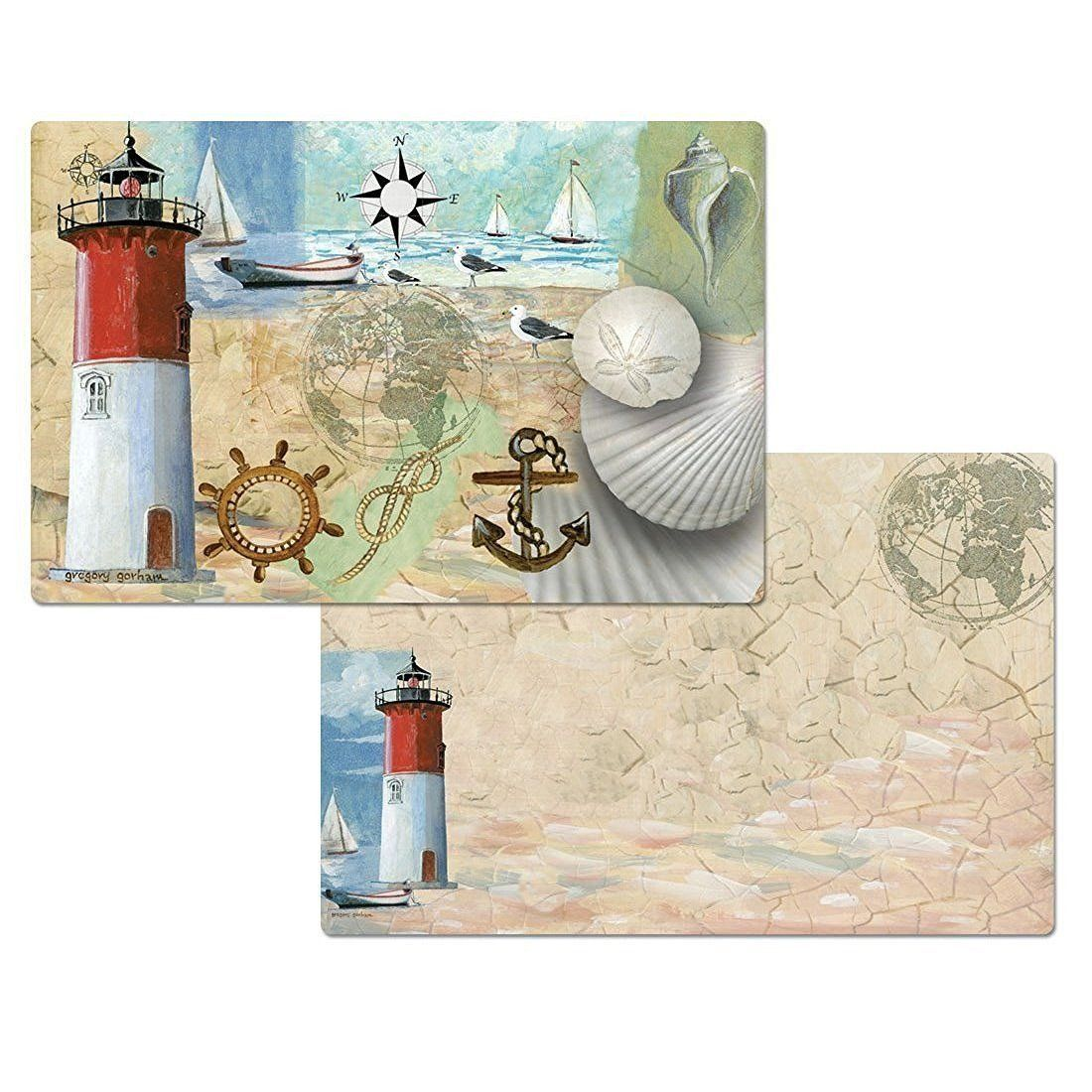 racepoint lighthouse nautical placemats reversible washable  -  racepoint lighthouse nautical placemats reversible washable plastic