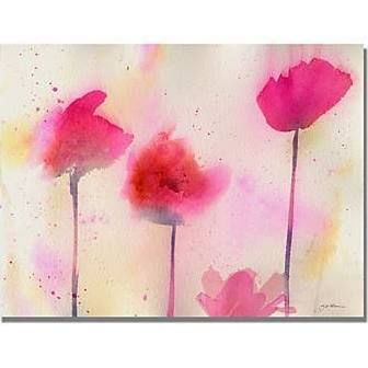 """Trademark Art 'Pink Poppy Dreams' by Sheila Golden Painting Print on Canvas Size: 18"""" H x 24"""" W x 2"""" D"""
