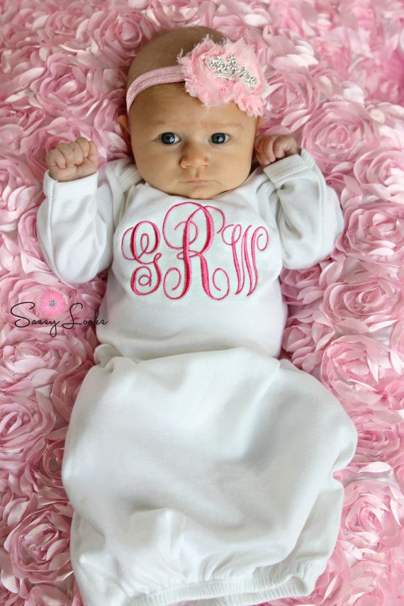 Newborn baby girl take home outfit monogram baby girl layette sleeper personalized baby girl clothes coming home outfit w options baby gift