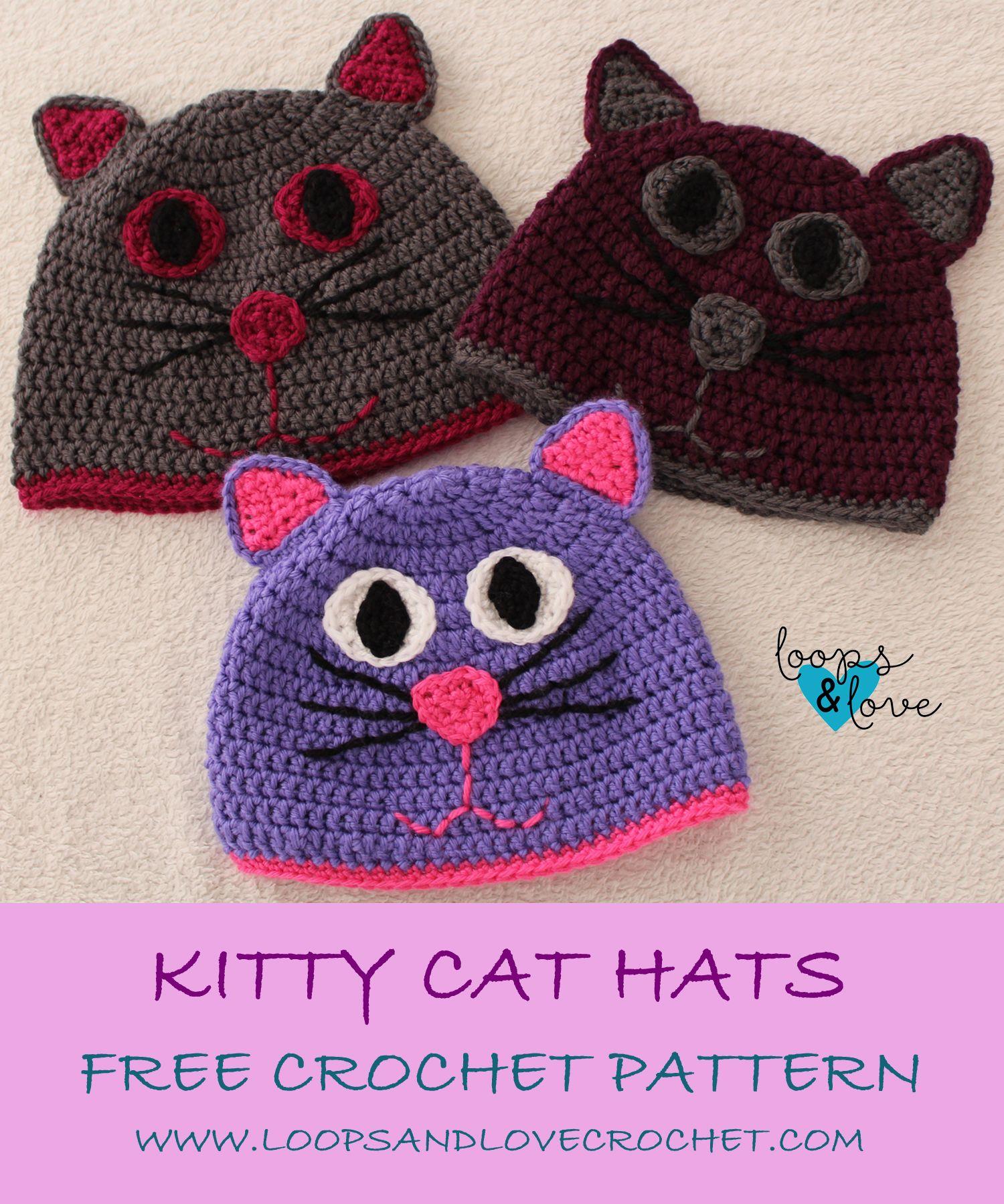 Cute Kitty Beanie Loops Love Crochet Crochet Cat Hat Crochet Hats Crochet Hat Pattern
