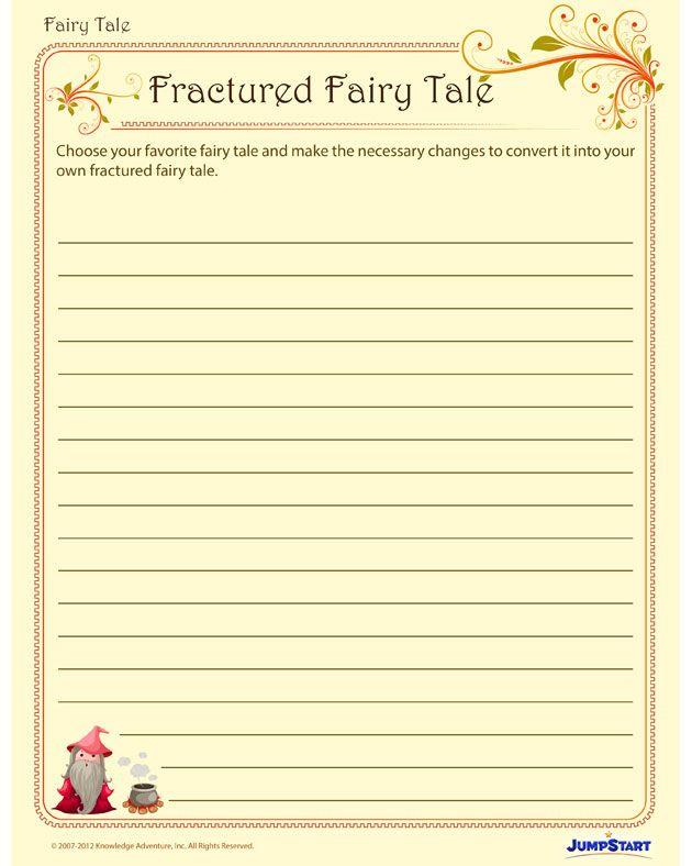 fractured fairy tales printable creative writing worksheet for 3rd grade fractured. Black Bedroom Furniture Sets. Home Design Ideas