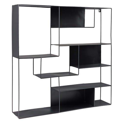 regal aus schwarzem metall einrichten regal metall. Black Bedroom Furniture Sets. Home Design Ideas