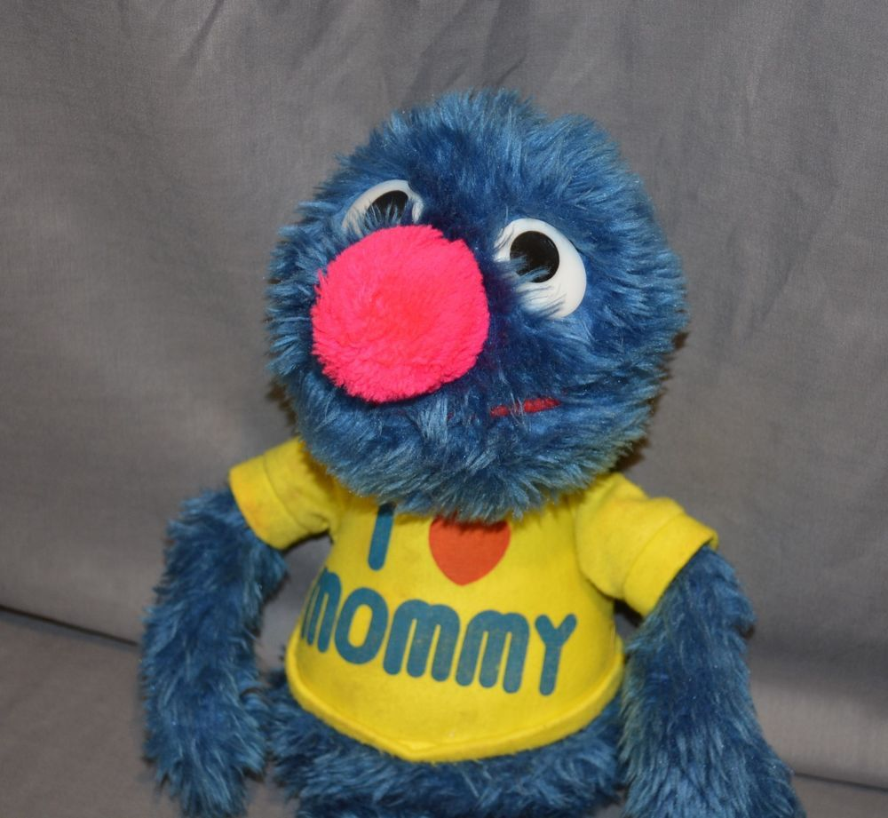 "Rare Vintage Applause Sesame Street ~ Grover ~ 20"" ~ I Love Mommy Shirt ~ 1982 #ApplauseKnickerbockerToy"