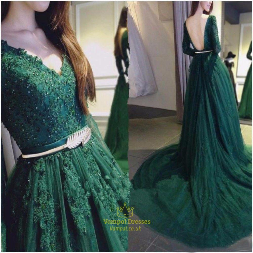 Green v neck embellished lace long sleeve backless prom dress