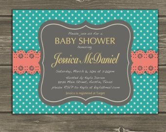 Polka Dot and Lace Baby Shower Invitation Coral Teal Yello Custom DIY
