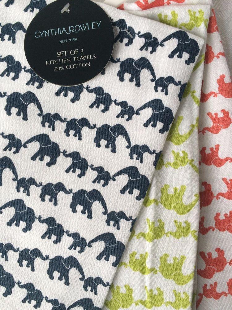 SET OF 3 KITCHEN TEA DISH TOWELS Elephant Print By CYNTHIA ROWLEY NEW # CynthiaRowley