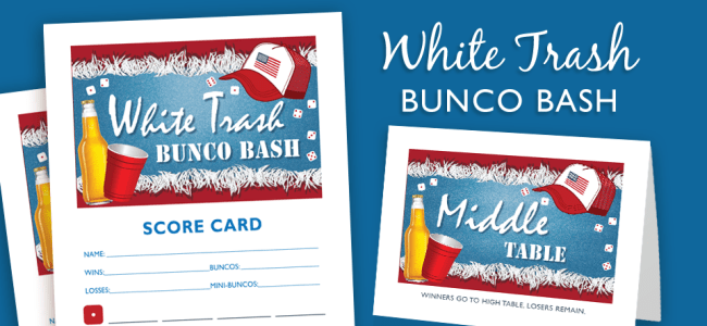 White Trash Bunco Bash | Bunko in 2019 | Bunco themes, Party themes