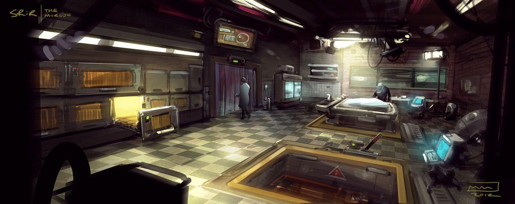 Morgue dystopia cyberpunk urban fantasy pinterest for Cyberpunk interior design