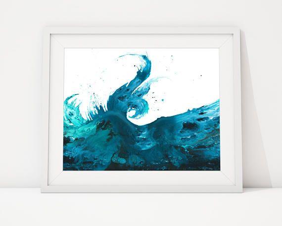 Wave Print Art, Beach Office Decor, Sea Waves Art, Beach Theme Wall ...