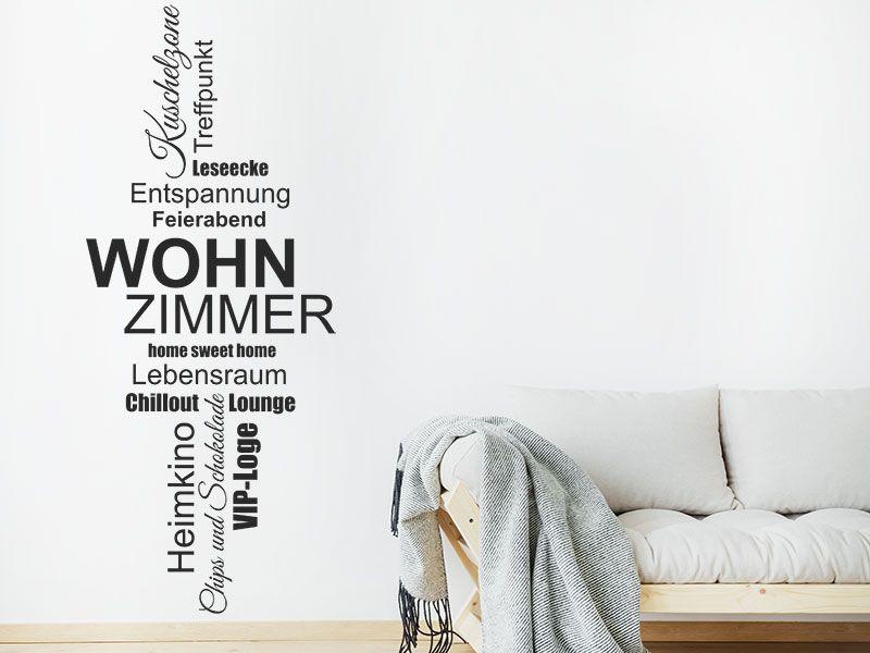 Wandtattoo Wortwolke Wohnzimmer Worte