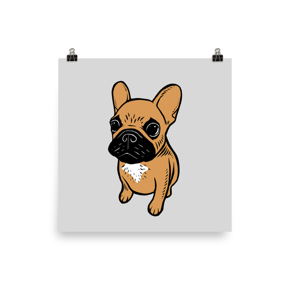 Black Mask Fawn Frenchie Puppy Photo Paper Poster Frenchie Puppy