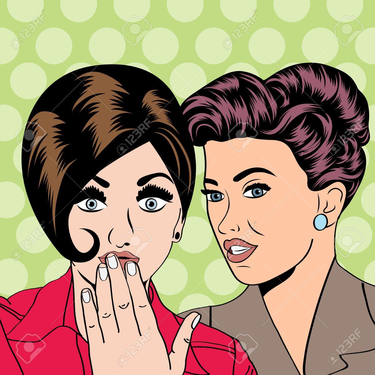 Dos jóvenes amigas hablando, ilustración de arte comic en