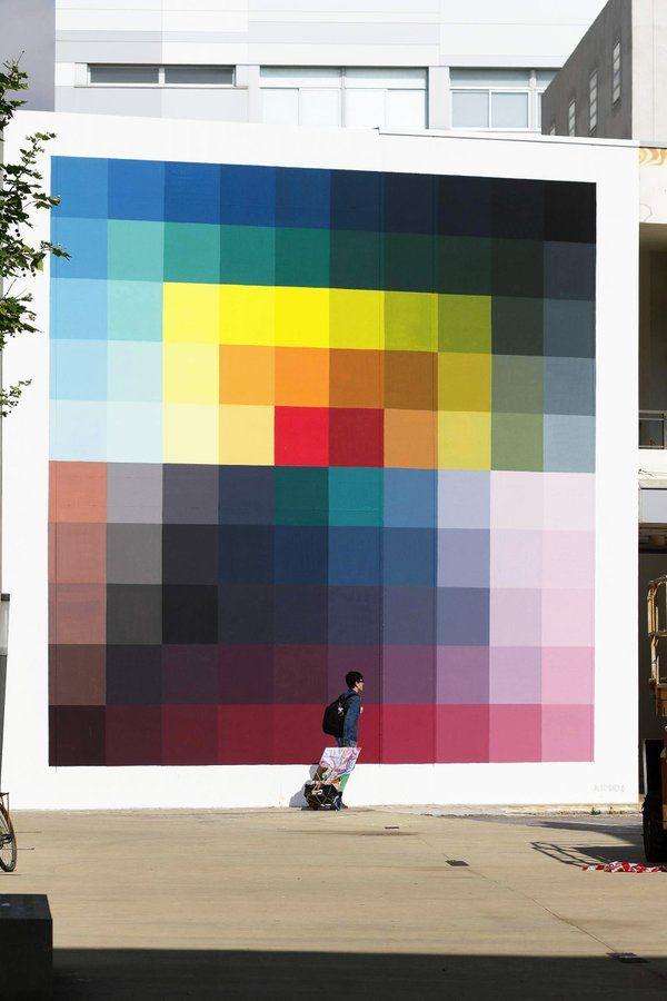 Tomando auge cada vez más, el arte pixelado en este mural es obra - murales con fotos