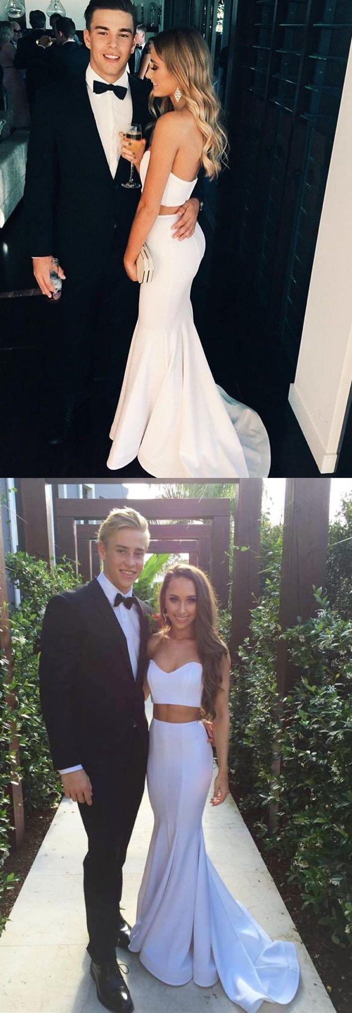 Two piece long prom dress white long prom dress mermaid long