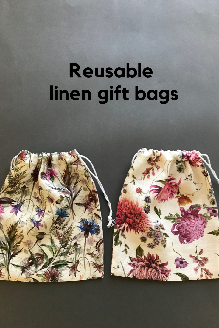 Reusable linen gift bags for women Sustainable fabric gift wrap 100/% linen drawstring bag Zero waste gifts. Holiday gift wrap ideas