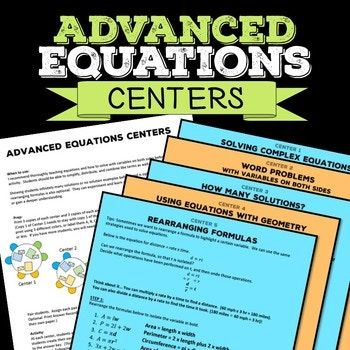 Equations Math Centers | Equation, Math and Word problems