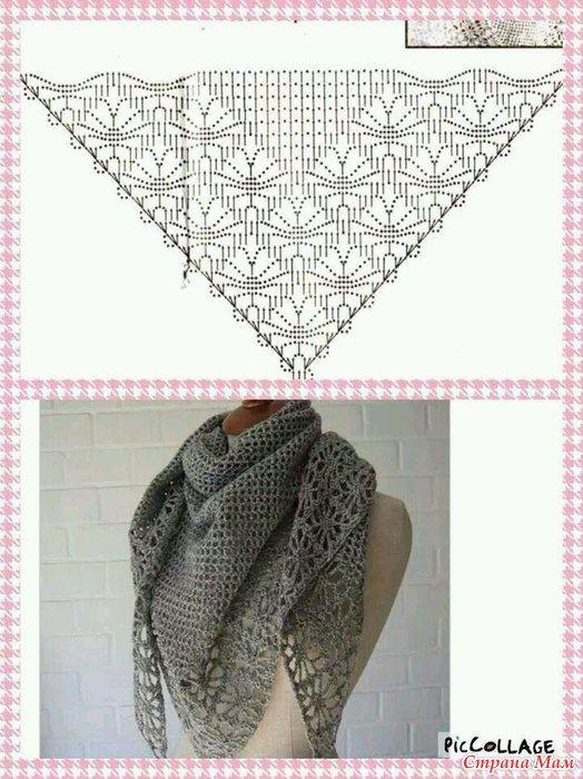 Una selección de las pautas de tejer chales (gancho) | Amor ...