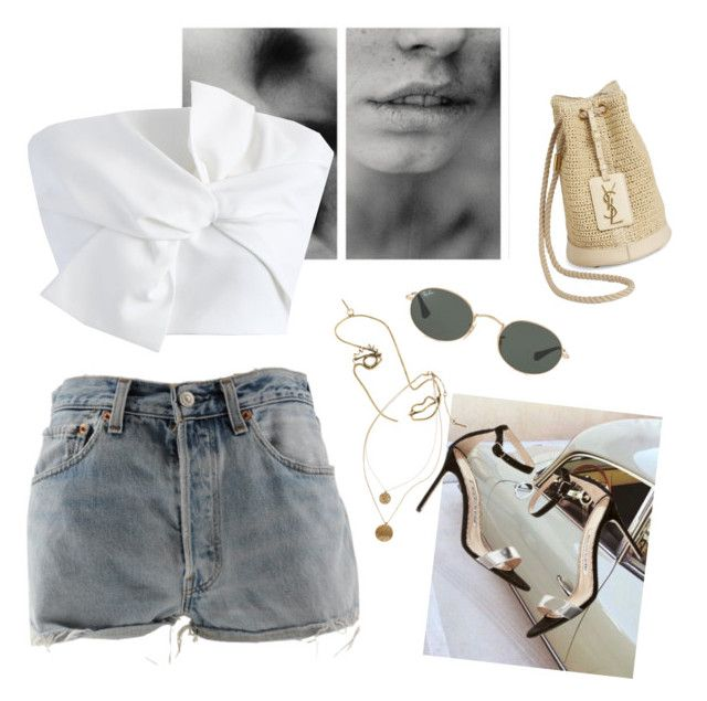 midsummer days⚡️ by affv on Polyvore featuring polyvore, fashion, style, Chicwish, Levi's, Yves Saint Laurent, Rosie Assoulin, Ray-Ban, Kenneth Cole and clothing