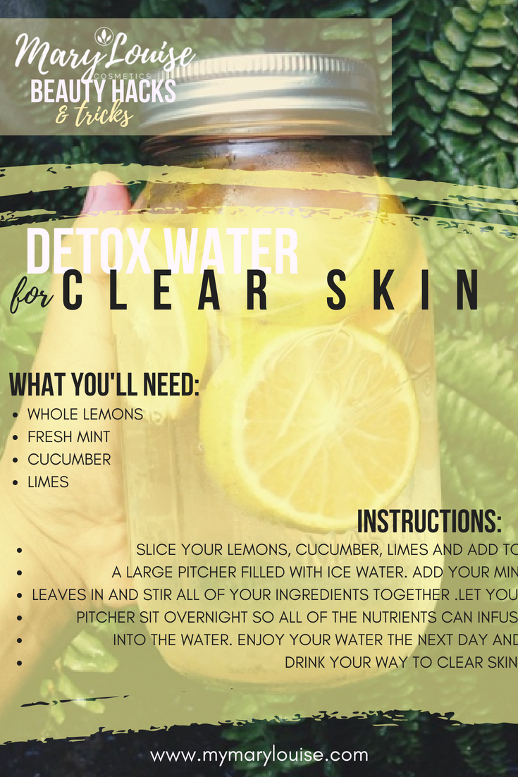 Detox water for clear flawless skin and flat tummy Easy DIY drinks that will help give you flawless skin Fruits and Veggies for clear skin and body detox