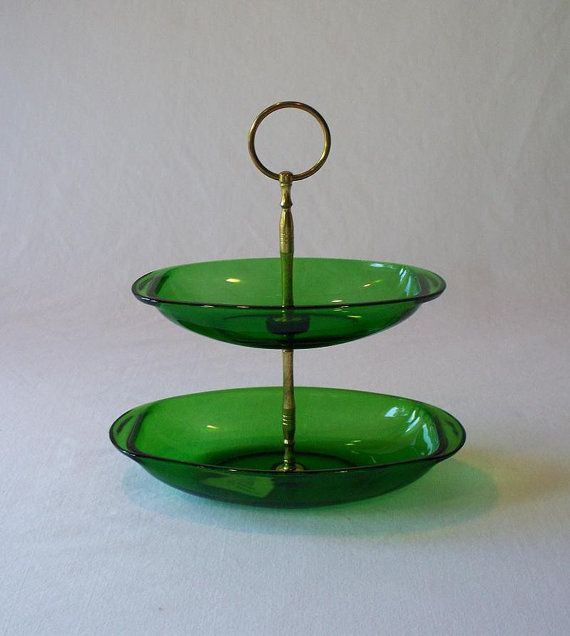 Vintage Two Tier Green Glass Candy Dish Tidbit by The2ndTimeAround, $22.00