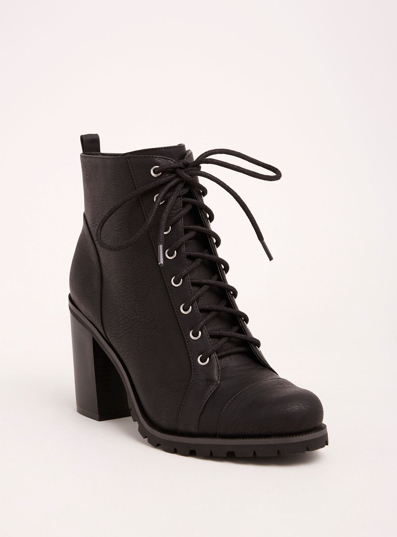 Lace Up Heel Combat Boots (Wide Width