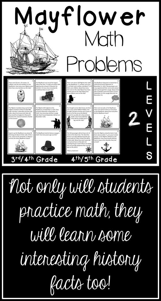 Mayflower Math Problems | Math word problems, Math, Word ...