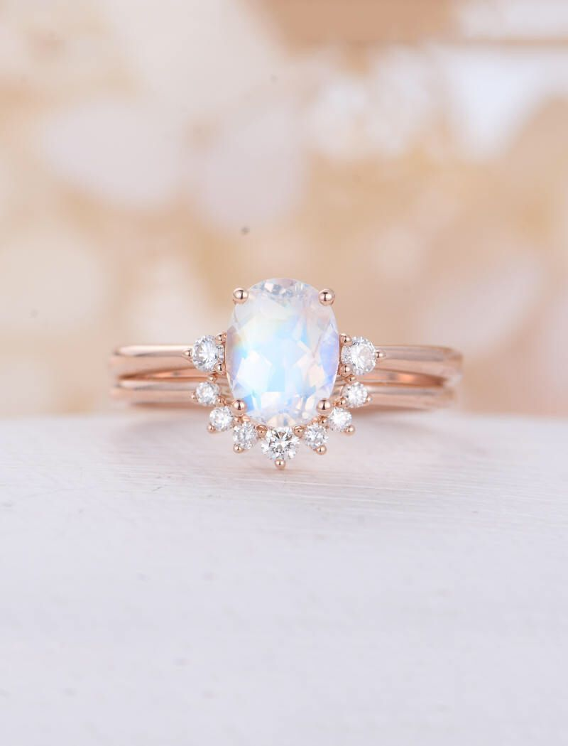 Moonstone engagement ring set rose gold oval cut engagement ring
