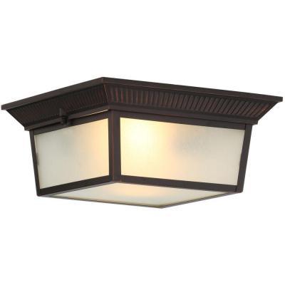 Hampton Bay 2 Light Indoor Outdoor Oil Rubbed Bronze Flushmount Light Ezt2092a Hampton Bay Outdoor Hanging Lights Indoor Outdoor