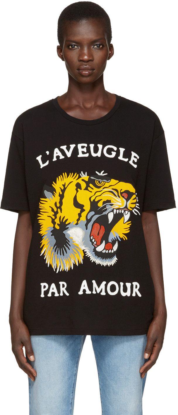 26082215d6ee GUCCI Black Roaring Tiger T-Shirt. #gucci #cloth #t-shirt | Gucci ...