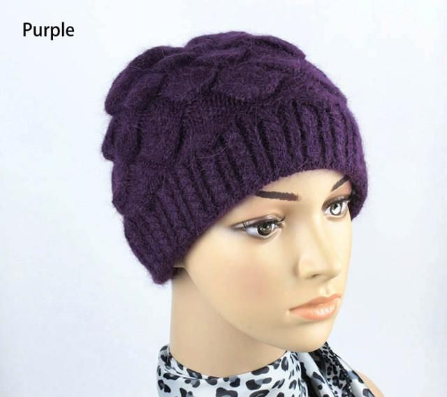 1edee9709ae Wool Hats for Old Lady Thick Wool And Acrylic Winter Hat Knitted Women Cap  Fashion Solid