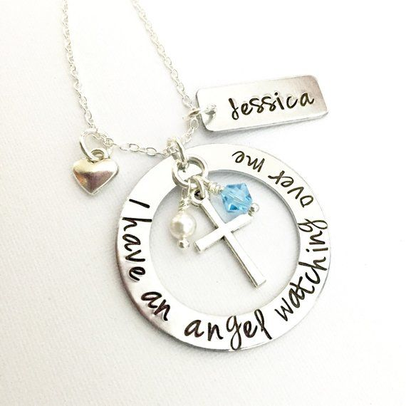 Hand Stamped Memorial Jewelry I Have An Angel Watching Over Me Remembrance Necklace Mom Dad Husband Child Loss Of Loved One Sympathy Gift