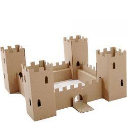 Castillo de cart n reciclado para pintar o personalizar - Manualidades castillo medieval ...