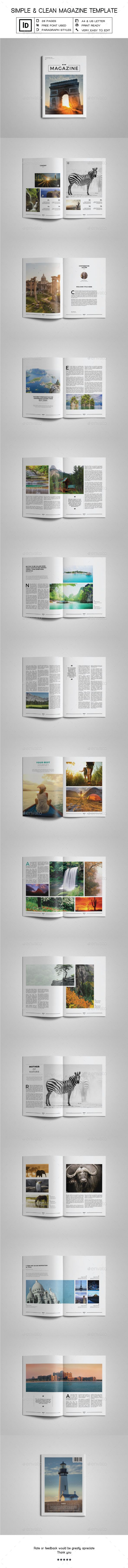 Simple & Clean Magazine Template V | Indesign templates, Template ...