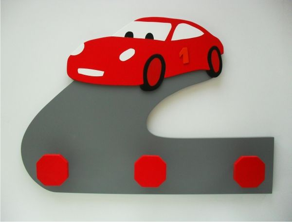 Perchero de pared infantil con forma de coche perfecto for Perchero pared infantil