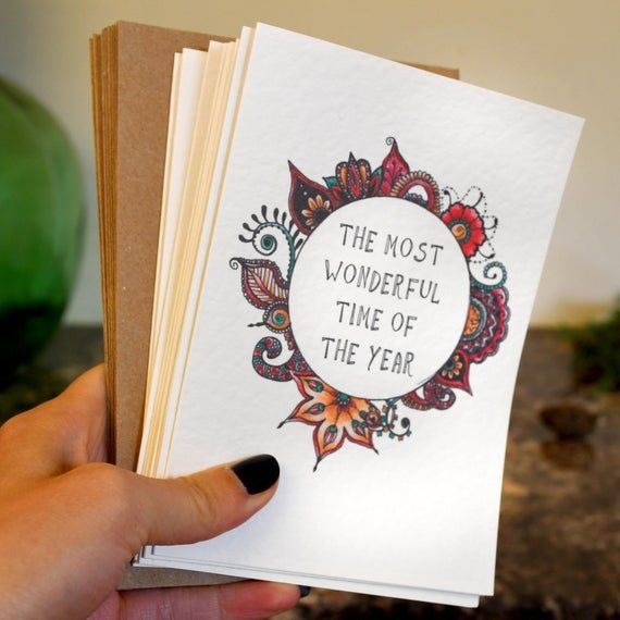 Photo of Pack of 10 charity Christmas cards (50% savings) – henna wreath illustrations – ethical + environmentally friendly – perfect for yoga lovers + hippie souls