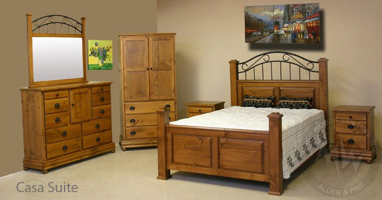 Rustic Styling Solid Pine 6 Pc Queen Bedroom Suite Features
