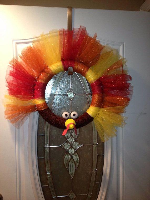 Turkey wreath by Wreathbyruby on Etsy, $40.00