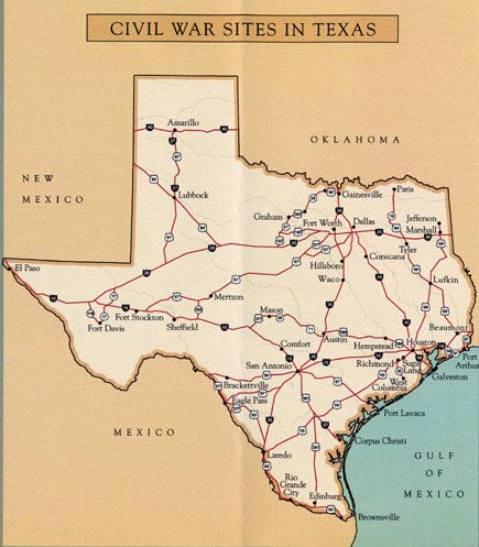 Map of Civil War Sites in Texas  Grade 47 Texas History