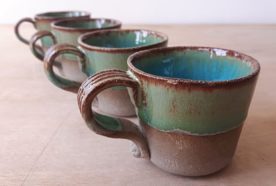 4x Modern Espresso Cups Set Unique Green Glaze Coffee Cup Unique