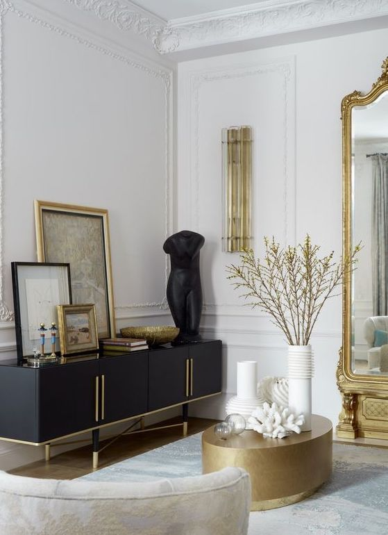 Contemporary Luxe style interior with black white and gold colour palette.  | House interior, Living room decor, Apartment decor