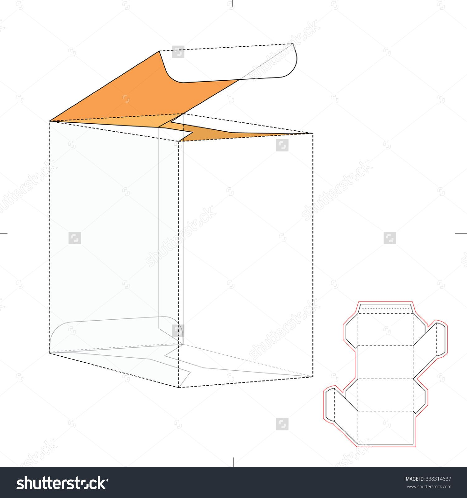 Rhombus Retail Empty Box With Die Cut Template Stock Vector