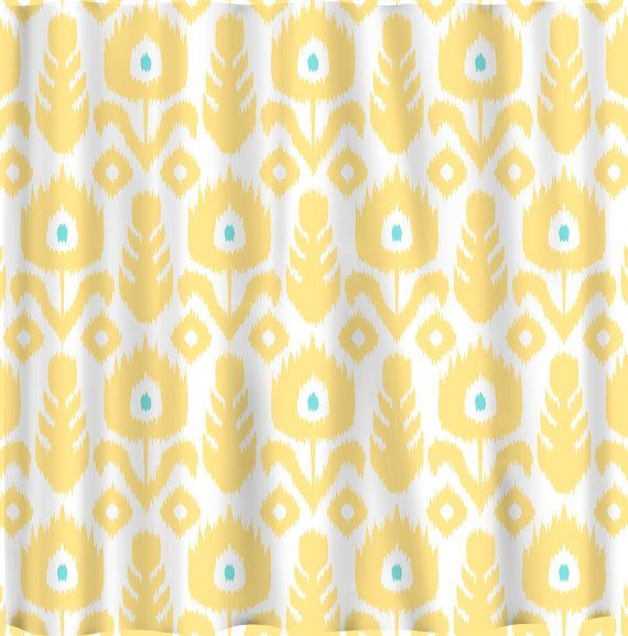 Custom IKAT Chevron Shower Curtain   Any Color   shown Yellow Wht Turq Custom IKAT Chevron Shower Curtain   Any Color   shown Yellow Wht  . Yellow And Teal Shower Curtain. Home Design Ideas