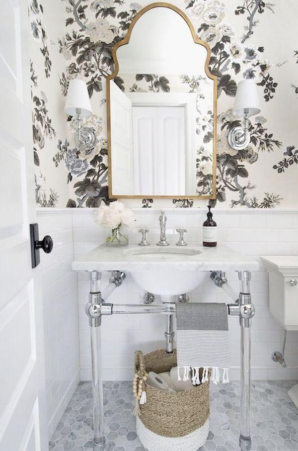 Best Wallpaper Options For Your Bathroom Renovation Powder Room Small Powder Room Mirror Bathroom Wallpaper