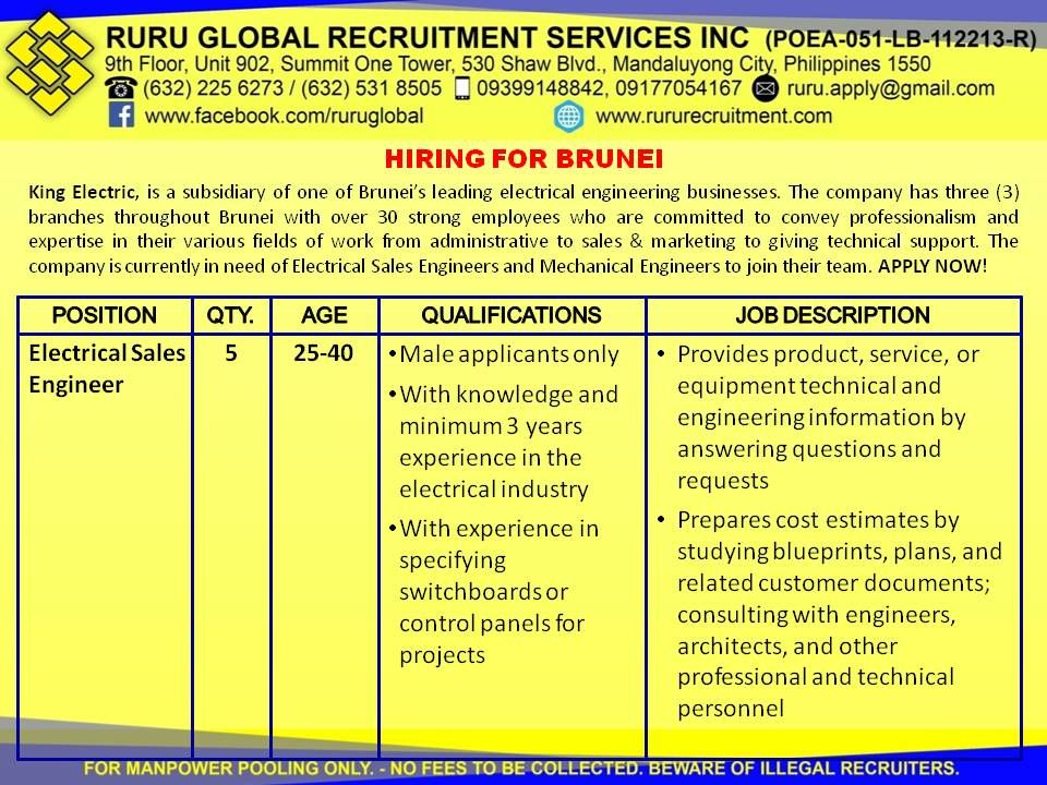 Brunei Hiring For Electrical Sales Engineer And Mechanical