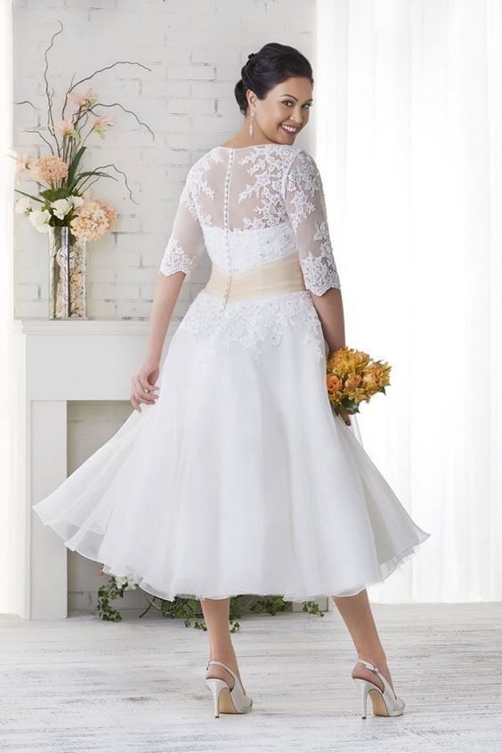 Off White Ankle Length Vintage Wedding Dress with Half Sleeves ...