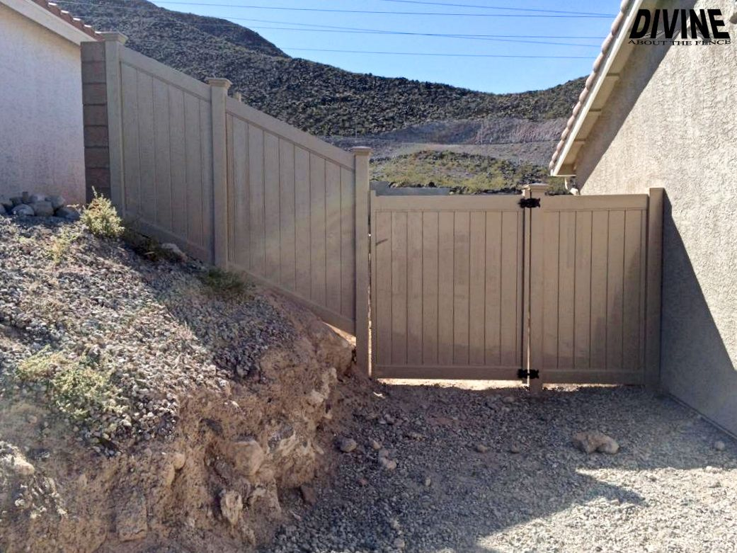 Vinyl Fence And Gate Installed By Divine About The Fence Fence Contractor Fence Vinyl Fence