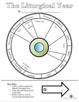Liturgical Year Calendar Wheel By Ashley S Shop Tpt Kids Calendar Catholic Liturgical Calendar Sunday School Crafts