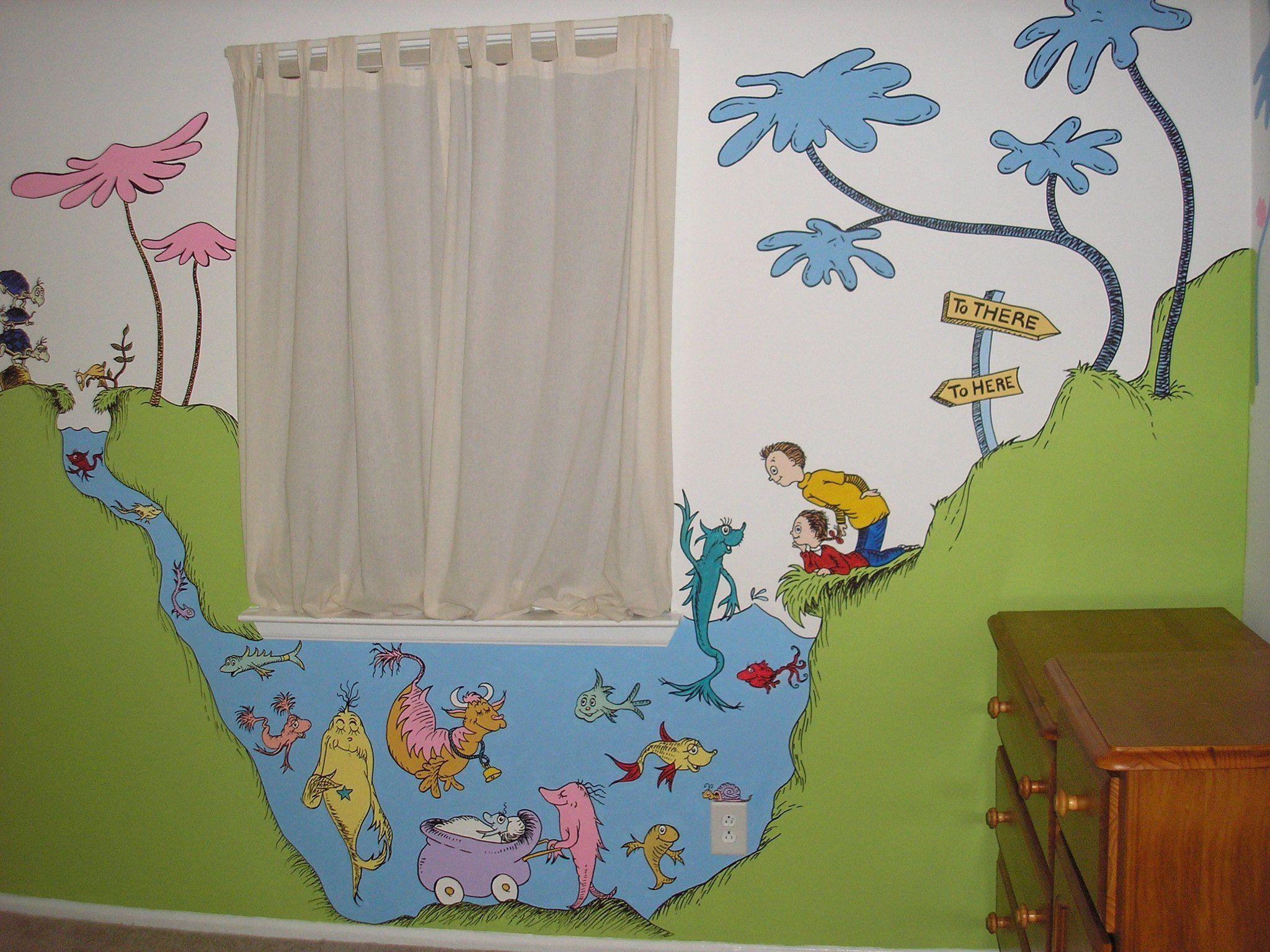 dr seuss kids bedroom mural decorating pinterest
